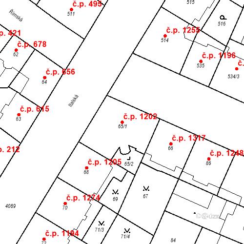 Katastrální mapa Stavební objekt Vinohrady 1202, Praha
