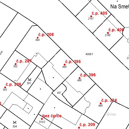 Katastrální mapa Stavební objekt Vinohrady 395, Praha