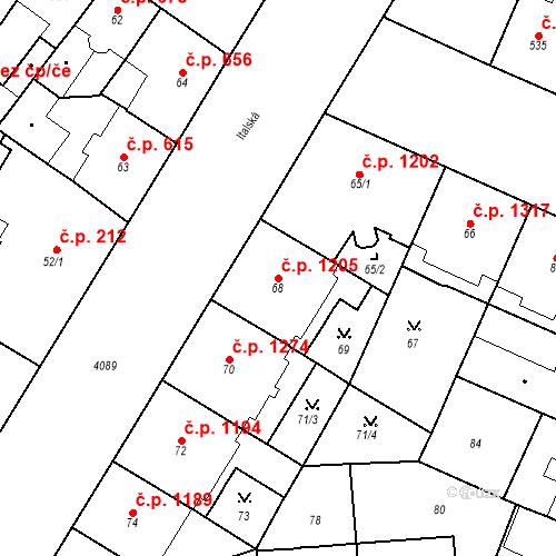 Katastrální mapa Stavební objekt Vinohrady 1205, Praha