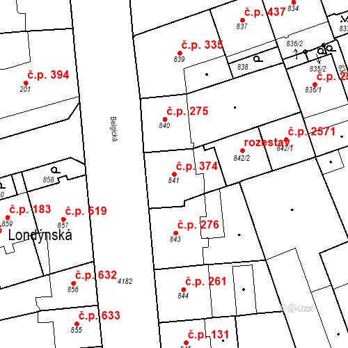 Katastrální mapa Stavební objekt Vinohrady 374, Praha