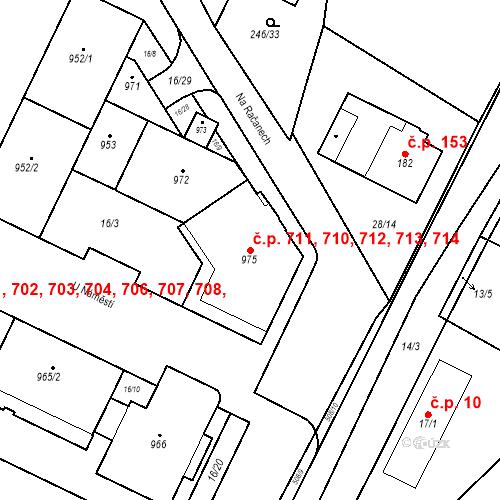 Katastrální mapa Stavební objekt Dolní Břežany 710, 711, 712, 713, 714, Dolní Břežany