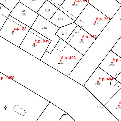 Katastrální mapa Stavební objekt Vinohrady 403, Praha