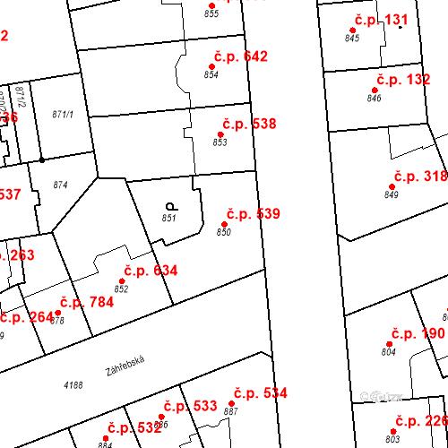 Katastrální mapa Stavební objekt Vinohrady 539, Praha
