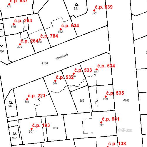 Katastrální mapa Stavební objekt Vinohrady 533, Praha