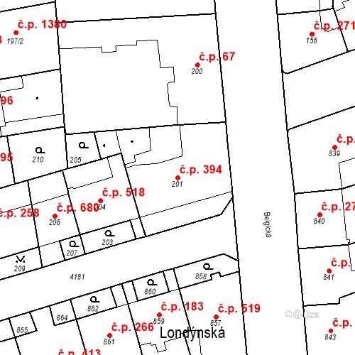 Katastrální mapa Stavební objekt Vinohrady 394, Praha