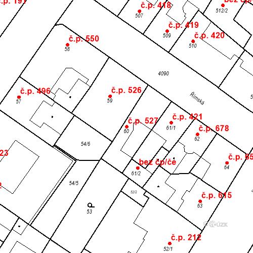 Katastrální mapa Stavební objekt Vinohrady 527, Praha