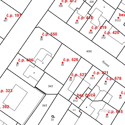 Katastrální mapa Stavební objekt Vinohrady 526, Praha