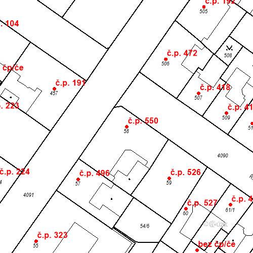 Katastrální mapa Stavební objekt Vinohrady 550, Praha