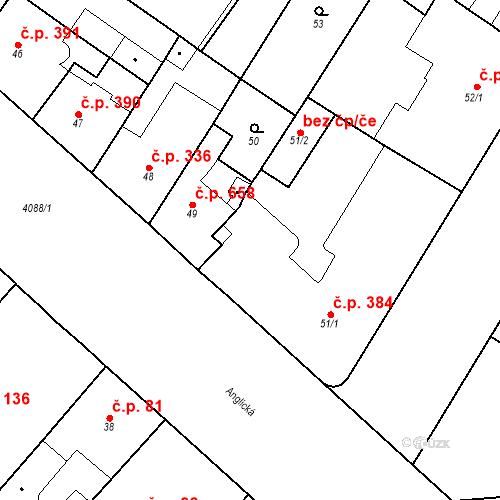 Katastrální mapa Stavební objekt Vinohrady 384, Praha