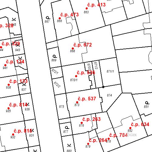 Katastrální mapa Stavební objekt Vinohrady 536, Praha