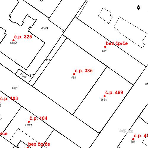 Katastrální mapa Stavební objekt Vinohrady 385, Praha