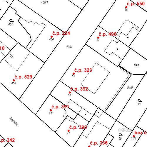 Katastrální mapa Stavební objekt Vinohrady 323, Praha