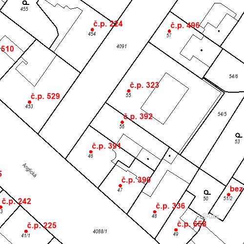 Katastrální mapa Stavební objekt Vinohrady 392, Praha