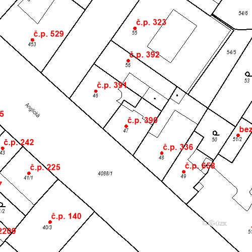 Katastrální mapa Stavební objekt Vinohrady 390, Praha