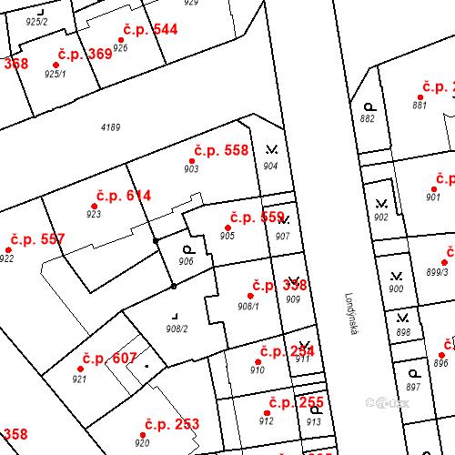 Katastrální mapa Stavební objekt Vinohrady 559, Praha
