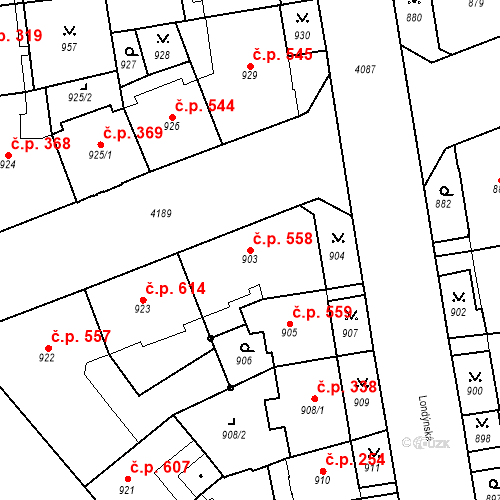 Katastrální mapa Stavební objekt Vinohrady 558, Praha