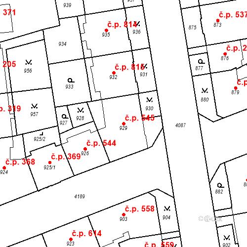 Katastrální mapa Stavební objekt Vinohrady 545, Praha