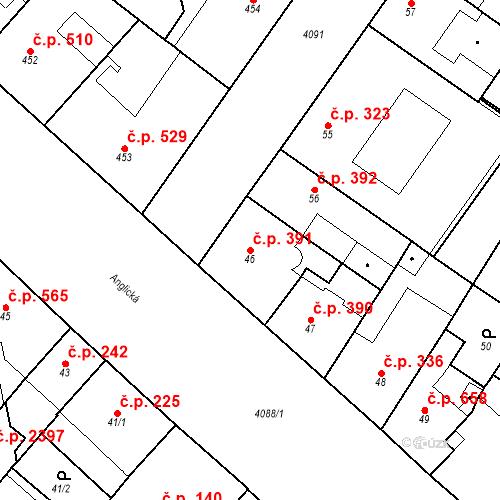 Katastrální mapa Stavební objekt Vinohrady 391, Praha