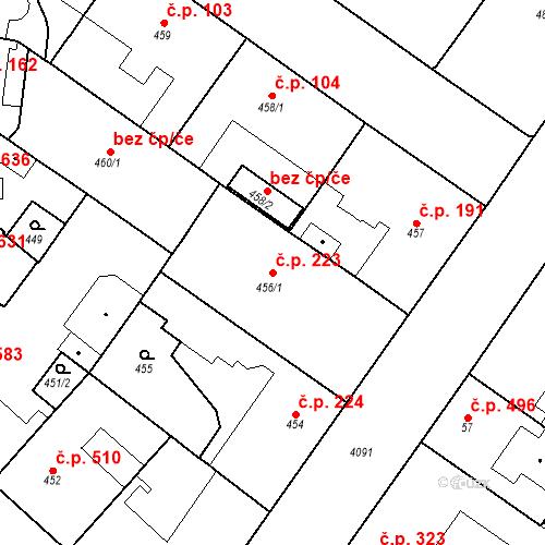 Katastrální mapa Stavební objekt Vinohrady 223, Praha