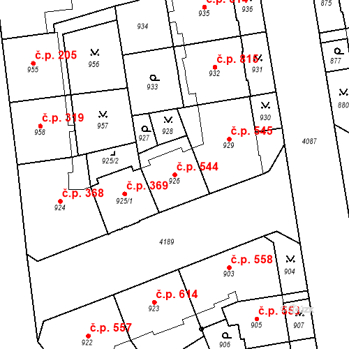 Katastrální mapa Stavební objekt Vinohrady 544, Praha