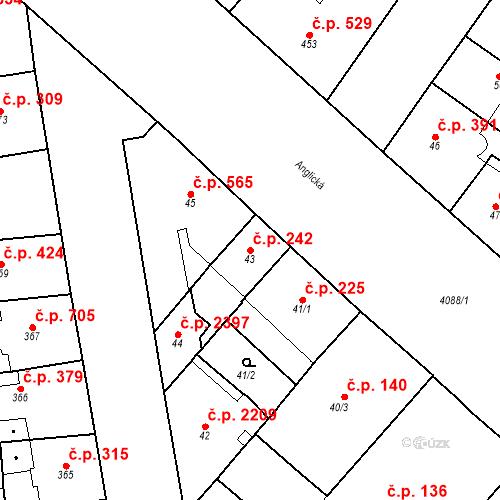 Katastrální mapa Stavební objekt Vinohrady 242, Praha