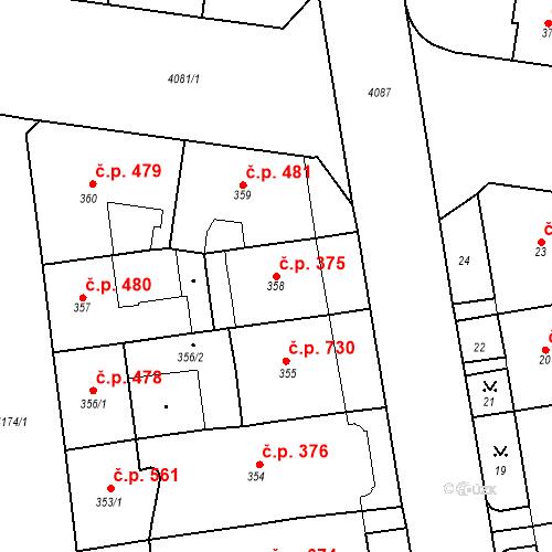 Katastrální mapa Stavební objekt Vinohrady 375, Praha