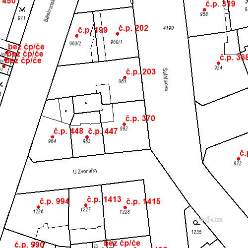 Katastrální mapa Stavební objekt Vinohrady 370, Praha