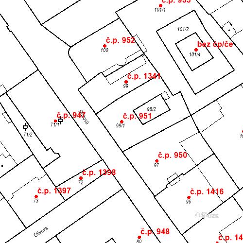 Katastrální mapa Stavební objekt Nové Město 951, Praha