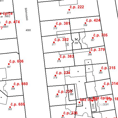 Katastrální mapa Stavební objekt Vinohrady 383, Praha