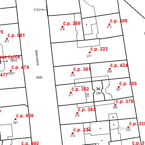 Katastrální mapa Stavební objekt Vinohrady 381, Praha