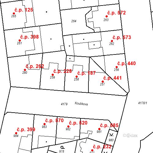 Katastrální mapa Stavební objekt Vinohrady 187, Praha