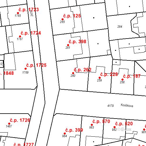 Katastrální mapa Stavební objekt Vinohrady 262, Praha