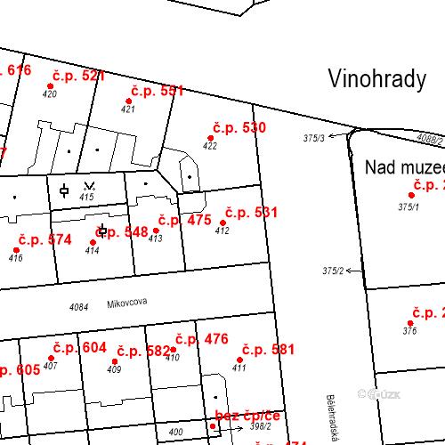 Katastrální mapa Stavební objekt Vinohrady 531, Praha