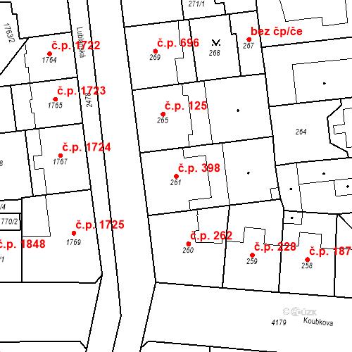 Katastrální mapa Stavební objekt Vinohrady 398, Praha