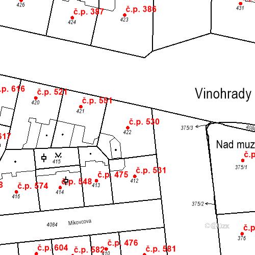 Katastrální mapa Stavební objekt Vinohrady 530, Praha