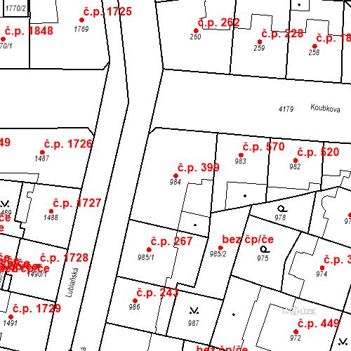 Katastrální mapa Stavební objekt Vinohrady 399, Praha