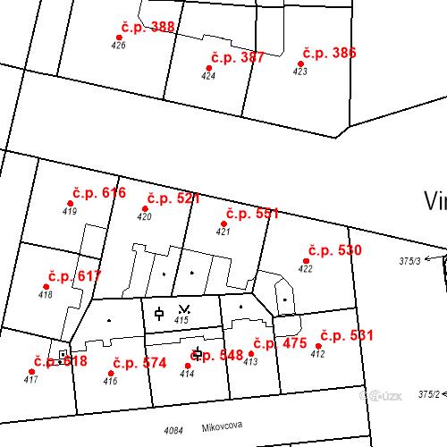 Katastrální mapa Stavební objekt Vinohrady 551, Praha