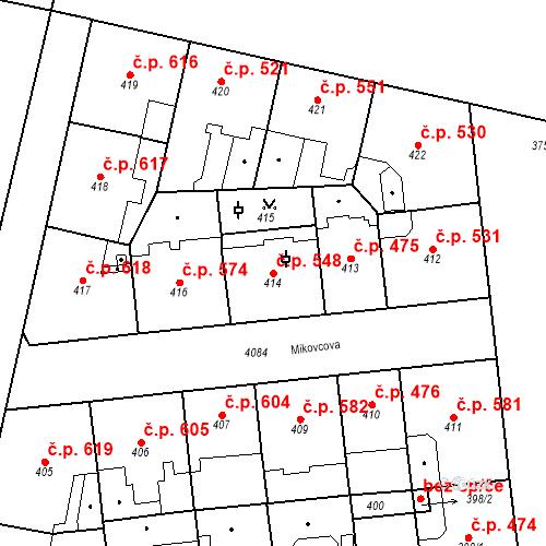 Katastrální mapa Stavební objekt Vinohrady 548, Praha