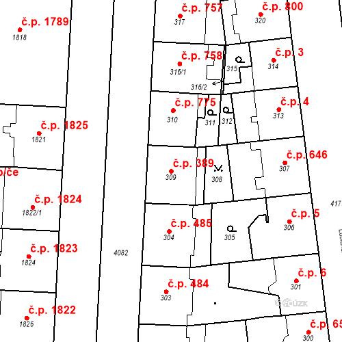Katastrální mapa Stavební objekt Vinohrady 389, Praha