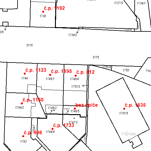 Katastrální mapa Stavební objekt Nusle 812, Praha