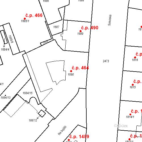 Katastrální mapa Stavební objekt Nové Město 464, Praha