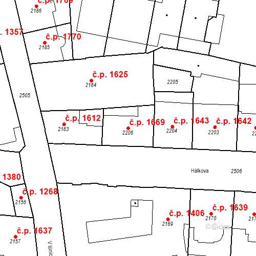 Katastrální mapa Stavební objekt Nové Město 1669, Praha