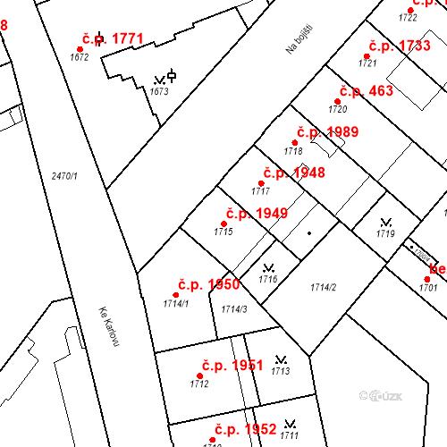 Katastrální mapa Stavební objekt Nové Město 1949, Praha