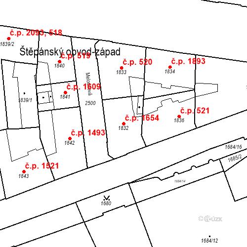 Katastrální mapa Stavební objekt Nové Město 1654, Praha