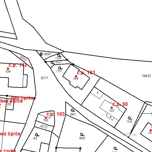 Katastrální mapa Stavební objekt Vodochody 133, Vodochody