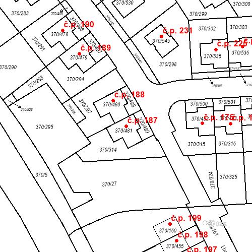Katastrální mapa Stavební objekt Cholupice 187, Praha
