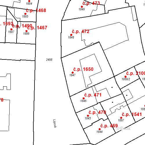 Katastrální mapa Stavební objekt Nové Město 1650, Praha