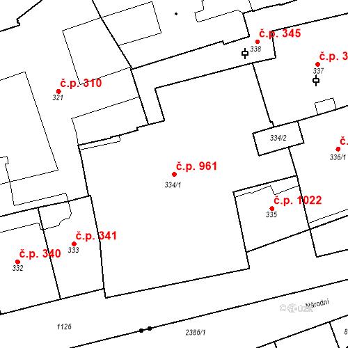 Katastrální mapa Stavební objekt Staré Město 961, Praha