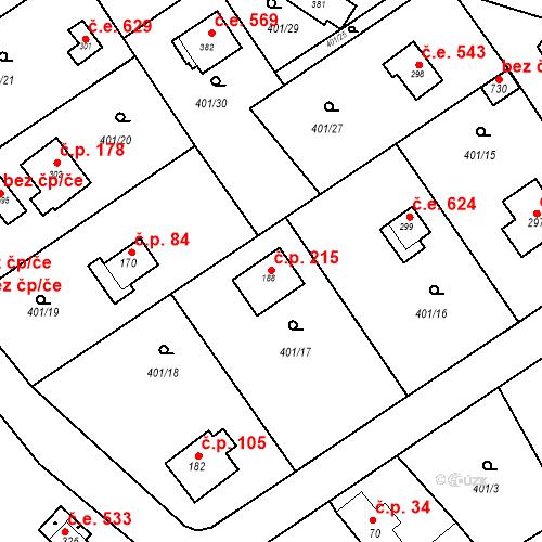 Katastrální mapa Stavební objekt Luka pod Medníkem 215, Jílové u Prahy