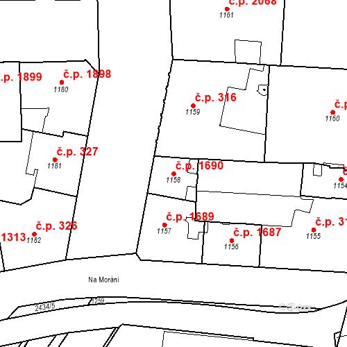 Katastrální mapa Stavební objekt Nové Město 1690, Praha